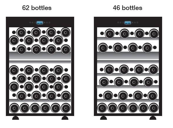 Vinoteca Doble Temperatura Y Encastrable Para 62 Botellas