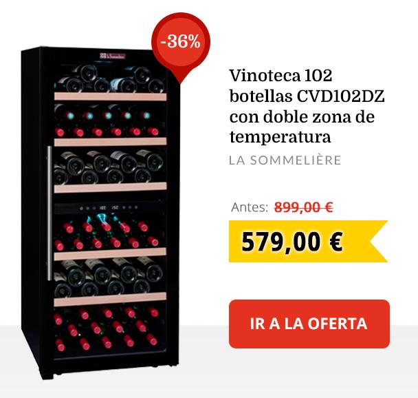 Vinoteca 102 botellas CVD102DZ con doble zona de temperatura